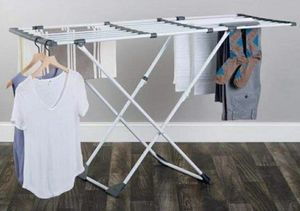 "Brand New 35"" tall foldable adjustable expandable from 41"" to 72"" steel plastic built in garment grip air drying delicate clothes drying rack for Sale in Pico Rivera, CA"