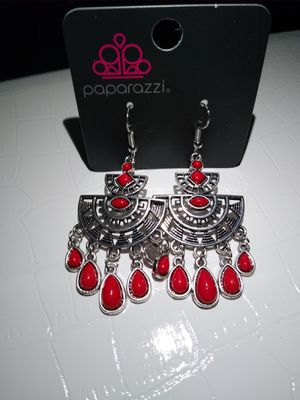 Earrings red and silver lead free for Sale in Palm Bay, FL
