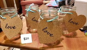 4 mason jars with burlap & cork heart decor for Sale in Fairfax, VA