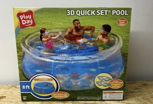 8 FT Play Day 3D Quick Set Family Swimming Pool Inflatable Ring Center! 2 Goggles included for Sale in Springfield, VA