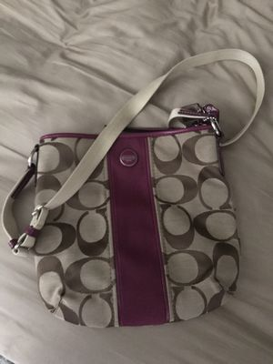 Tan and purple Coach crossbody bag for Sale in Arvada, CO