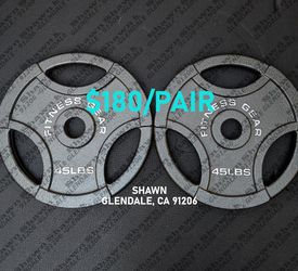 OLYMPIC WEIGHT PLATES - 45LBS PAIR (2 PLATES) for Sale in Glendale,  CA