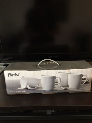 Set of 4 white ceramic coffee mugs for Sale in Riverside, CA