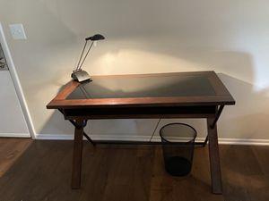 Glass-Top Dark Wood Desk with Storage Drawer for Sale in Gaithersburg, MD