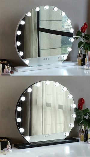 """New $140 Round 24"""" Vanity Mirror w/ 15 Dimmable LED Light Bulbs Beauty Makeup (White or Black) for Sale in Pico Rivera, CA"""