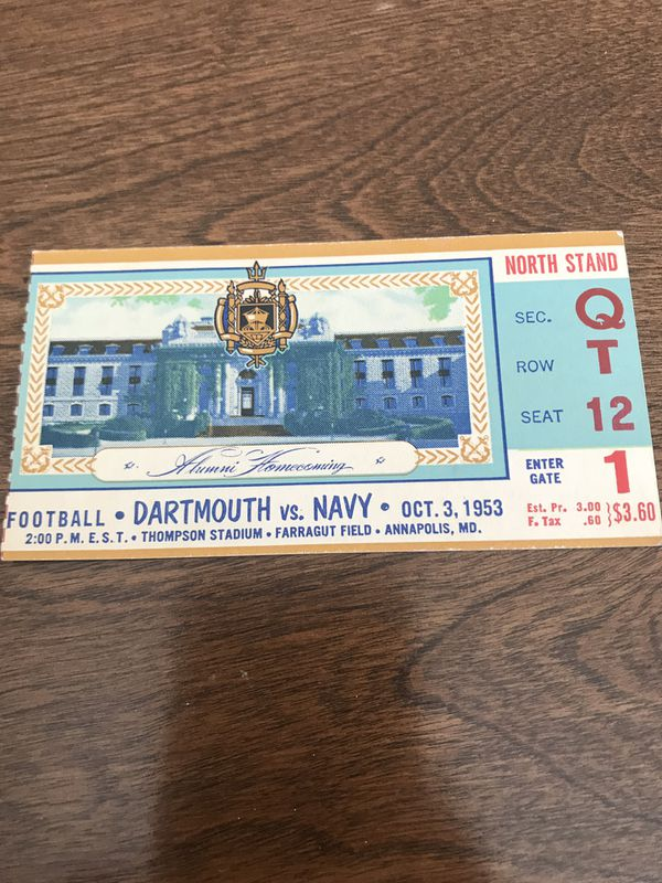 1953 Dartmouth vs Navy Football Ticket Stub