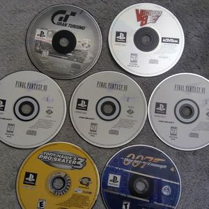 Couple of Classic PlayStation / PS1 Retro Videogames Final Fantasy 7 / Vigilante 8 / Gran Turismo / Tony Hawk 3 & Golden Eye The World Is Not Enough for Sale in San Leandro, CA