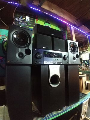 Pioneer surround sound speakers and receiver plus powered subwoofer for Sale in Auburn, WA