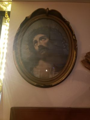 Late 1800s Jesus Litho with ornate Oval Frame for Sale in Seattle, WA