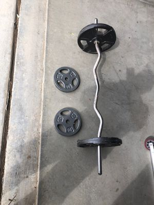 Weight set with curl bar $115 total for Sale in San Bernardino, CA
