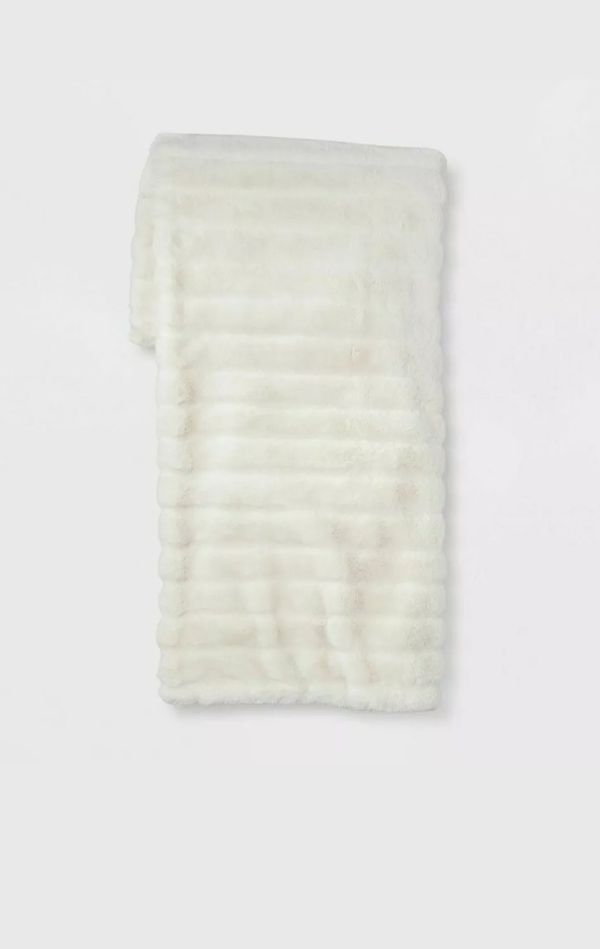 "Texture Faux Fur Throw Blanket 60"" x 50"" Project 62 NEW with Tag"
