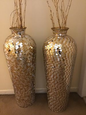 "Set of 2 large 30"" tall gold silver mosaic vases free bamboo sticks click on my profile picture choose my offers for more listings for Sale in Gaithersburg, MD"