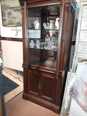 Solid wood lighted cabinet for Sale in Baytown, TX