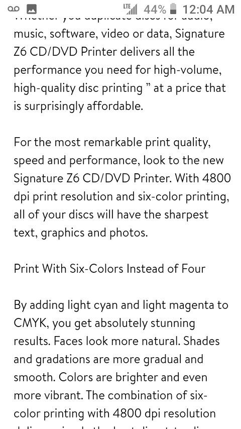 Signature Z6 CD/DVD printer.