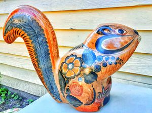 Vintage mexican pottery squirrel figurine ! MADE IN MEXICO Tonala Barro Brunido for Sale in Saginaw, MI