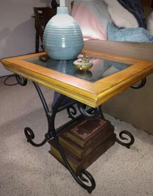 Wrought Iron, Wood and Glass side tables for Sale in Annandale, VA