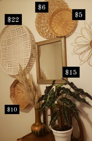 Mirror/ basket wall/ boho decor for Sale in Spring Valley, CA