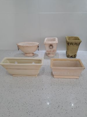 Collection of small flower pots. Quantity 32 with 5 different patterns. Plant NOT included. for Sale in South Miami, FL