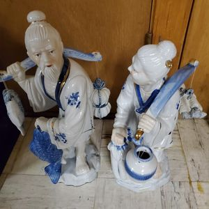"pair decor statues about 14"" $12, pair dolls on stands $14 or $22 all 4 for Sale in Manchester, CT"