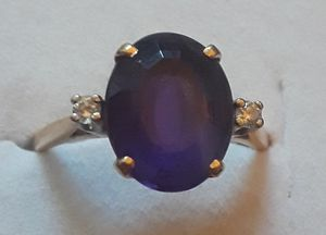 14K Real Gold Ring with 3.25 Carat Amethyst & 2 Natural Diamonds Size 6.5 for Sale in Anaheim, CA