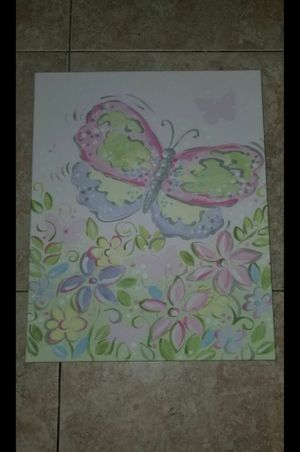 Girls Butterfly Picture - Canvas for Sale in Sunrise, FL