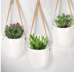 Ceramic Hanging Planter, Succulent Air Plant Flower-Pot Wall Decor Hanging Planters with Leather Strapes White Ropes No Drainage Hole, Set of 3 for Sale in Scottsdale, AZ