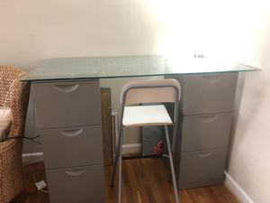 IKEA Standing Desk with File Cabinets and Chair for Sale in Arlington, VA