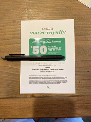 Tommy Bahama $50 off with any $100 coupon, expires 6/21/20 for Sale in Sammamish, WA