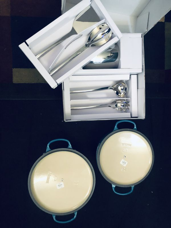 William Sonoma 5piece stainless steal kitchen tool set priced at 119.96$ /Le Creuset 7.25 priced at 380.00$ & Le Creuset 5.5 priced at 330.00$ .