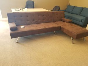 Brown Futon and Chaise for Sale in Phoenix, AZ