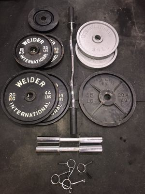 294lbs Olympic Weights/Curl Bar/Dumbbell Bars for Sale in Bowie, MD