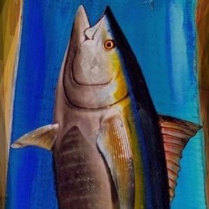 Yellow Fin Tuna On Wood Patio Outdoors Fishing Art for Sale in Port St. Lucie, FL