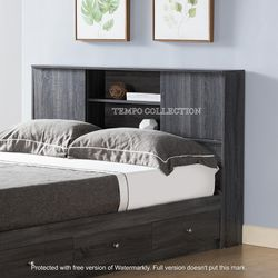 NEW,FULL BOOKCASE HEADBOARD BED WITH 3 DRAWERS,DISTRESSEDGREY, SKU#TCY5201F for Sale in Westminster,  CA