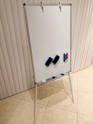 New VivReal 24x36 inch tall magnetic dry erase white board easel with adjustable tripod 5 feet overall height include pens magnets and eraser home st for Sale in Covina, CA
