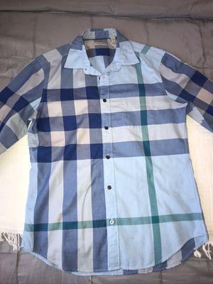 Burberry Dress Shirt Men Size M Color Blue Big Line Pattern for Sale in Stockton, CA