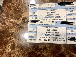 2 bad bunny tickets section 207 row j $160 for both for Sale in Chicago, IL