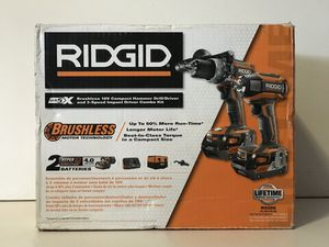 RIDGID 18v GEN5X BRUSHLESS CORDLESS COMBO KIT HAMMER DRILL,3 SPEED IMPACT 2-4.0AH BATTERY AND CHARGER for Sale in Colton, CA
