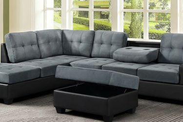 Heights Gray/Black Microfiber Reversible Sectional with Storage Ottoman VENDORHAPPY HOMES for Sale in Houston,  TX