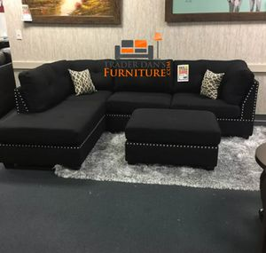 Brand New Black Faux Leather Sectional Sofa Couch + Ottoman (Grey Available) for Sale in Wheaton-Glenmont, MD