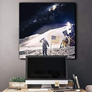 ((FREE SHIPPING)) astronaut in outerspace saluting and adding the usa flag on the moon - canvas art home decor Painting like print for Sale in San Mateo, CA