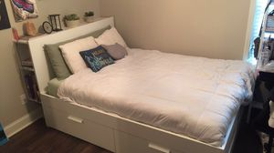 White Queen Size Bed Frame for Sale in Bonaire, GA