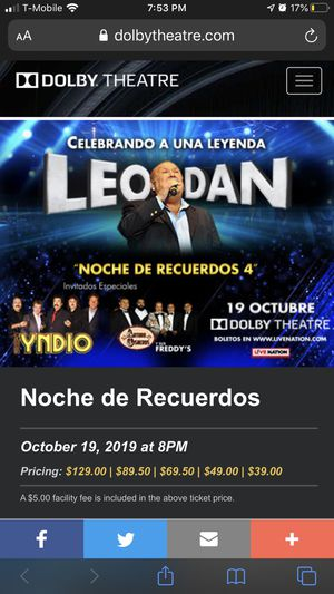 LEO DAN TICKETS FOR TONIGHT for Sale in Los Angeles, CA