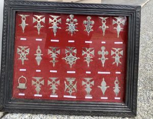 African Niger Tuareg Tribal Silver-Tone Jewelry Symbology Framed Display for Sale in Seattle, WA