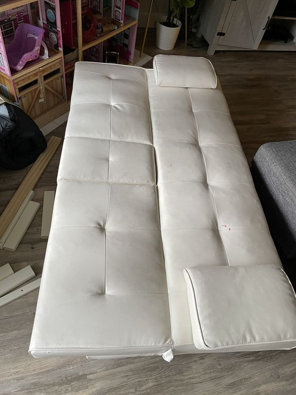 White Faux Leather Futon Bed