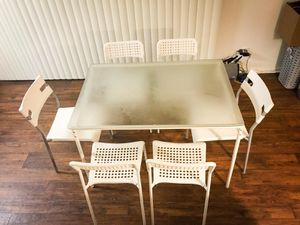 IKEA dining table glass top 6 chairs white for Sale in Los Angeles, CA