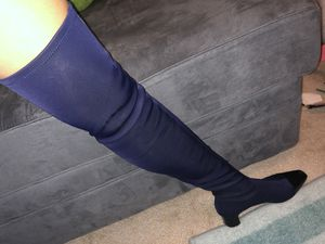 Zara fabric Over Knee Navy blue boots size 6 for Sale in Gaithersburg, MD