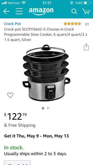 Brand New Crock-pot SCCPVS642-S Choose-A-Crock Programmable Slow Cooker, 6 quart/4 quart/2 x 1.5 quart, Silver for Sale in Lincoln Park, NJ