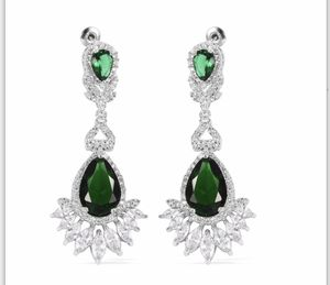 New Emerald, Simulated Diamond Earrings in silver for Sale in Queens, NY