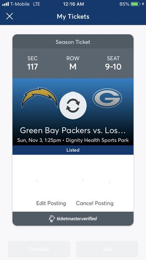 Green Bay Packers vs Chargers Sunday 11/3 - $350 each obo for Sale in Los Angeles, CA