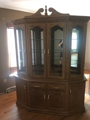 Antique wood China cabinet great shape everything works for Sale in Toms River, NJ